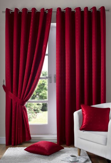 Boston Red Eyelet Lined Curtains