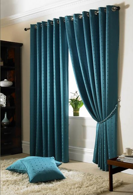 Boston Teal Eyelet Lined Curtains